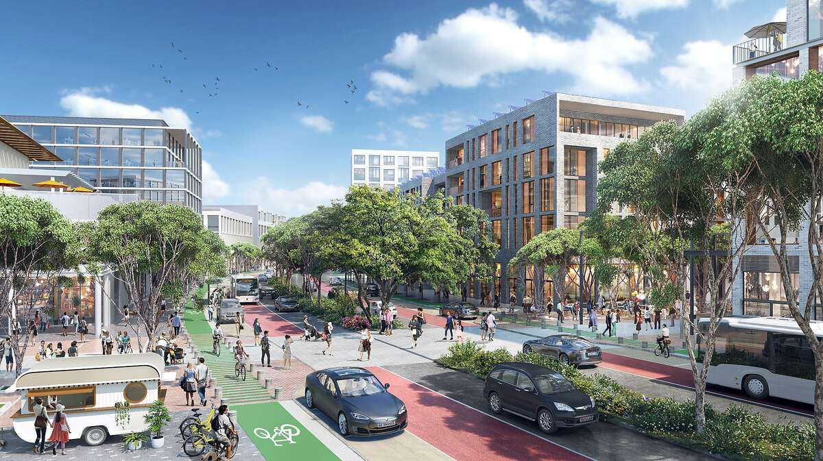 """A view ofÊ a mixed-use district along the """"transit spine"""" conceived as part of the redevelopment of the Concord Naval Weapons Station. This transportation artery would run the length of the 2,300-acre site, with dedicated lanes for buses and bicycles as well as automobiles."""