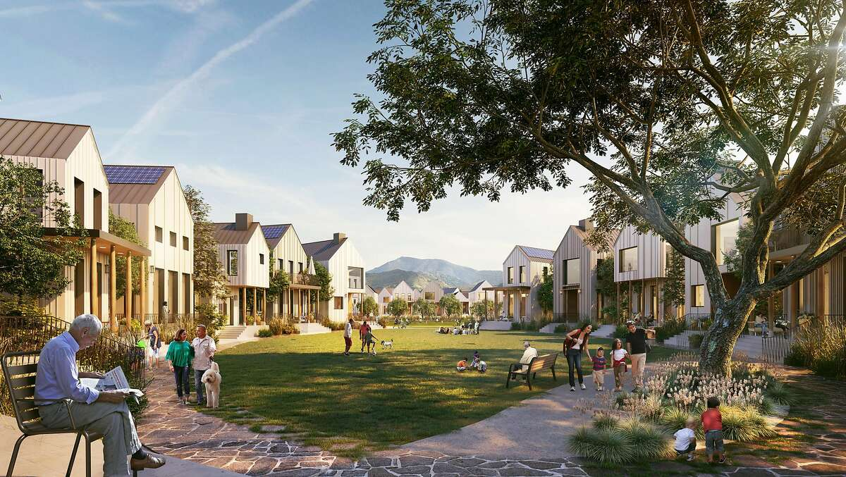 A rendering of houses and a pocket park in one of the lower-density neighborhoods envisioned as part of the redevelopment of the Concord Naval Weapons Station. Lennar was chosen in 2016 to begin transforming the 2,300-acre site -- which would also include a higher density transit district near the North Concord BART station -- by the city of Concord