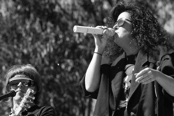 The popular San Francisco band Jefferson Airplane, sings at a union of  reunion shows as wells a free concert at the Polo Grounds in Golden Gate Park, September 30, 1989