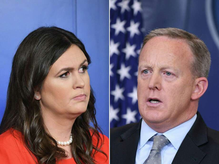 Sarah Sanders and Sean Spicer, former White House press secretaries, have moved on to new public roles. Photo: / AFP /Getty Images / AFP