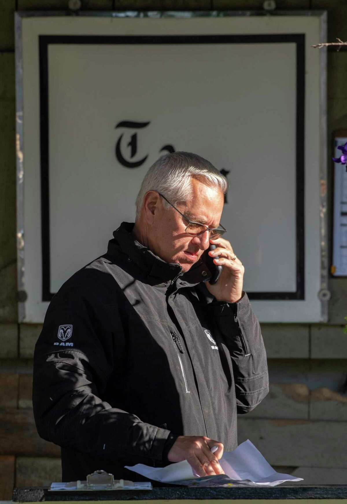 Trainer Todd Pletcher discusses business at the Oklahoma Training Center adjacent to the Saratoga Race Course Friday August 30, 2019 in Saratoga Springs, N.Y. Photo Special to the Times Union by Skip Dickstein