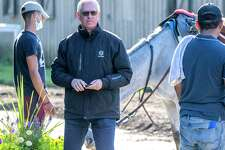Trainer Todd Pletcher watches his charges carefully before and after their morning exercise at the Oklahoma Training Center adjacent to the Saratoga Race Course Friday August 30, 2019 in Saratoga Springs, N.Y. Photo Special to the Times Union by Skip Dickstein