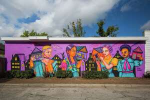 """Mural ArtistRoyal Sumikat and Arts District Houston unveiled """"Bringing Home with Us"""" on Friday, Aug. 30, atHenderson and Kane General Store. The mural is one of five slated to open this fall."""