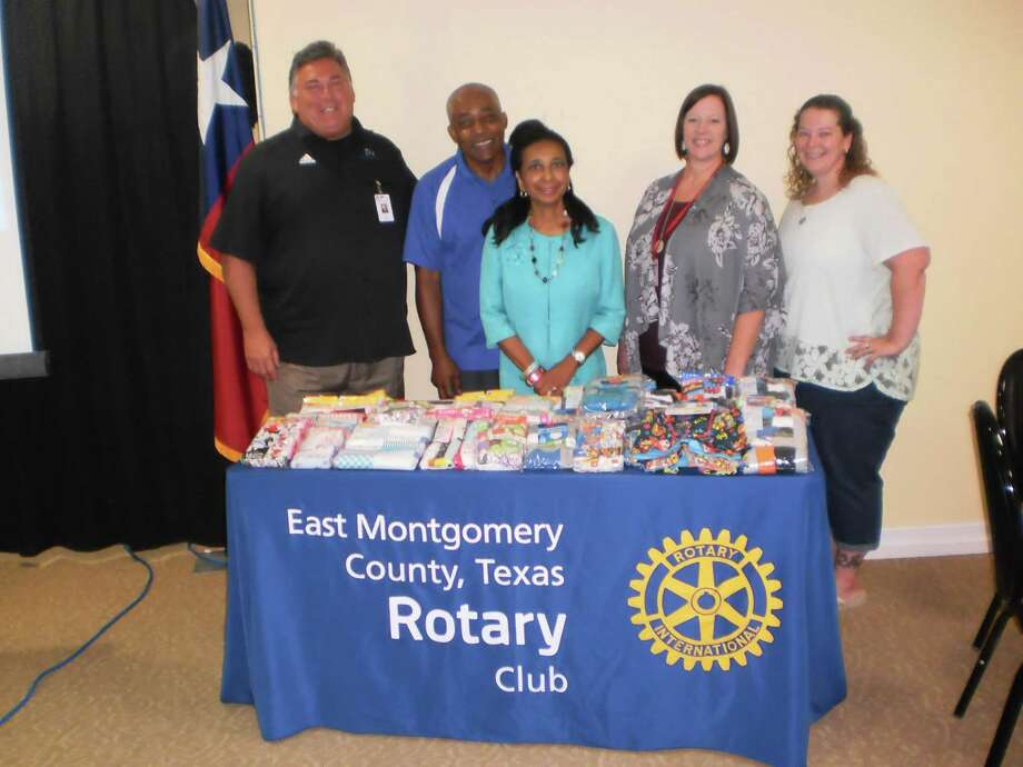 Pictured are Kenn Franklin - NCISD Superintendent; Milton Austin  - RCEMC President; Rose Austin - RCEMC Service Project Director; Dianna Archer - Principal Splendora High School and Darbie Lindsey - RCEMC Youth Services Director at the East Montgomery County Rotary Club. Photo: Courtesy Photo