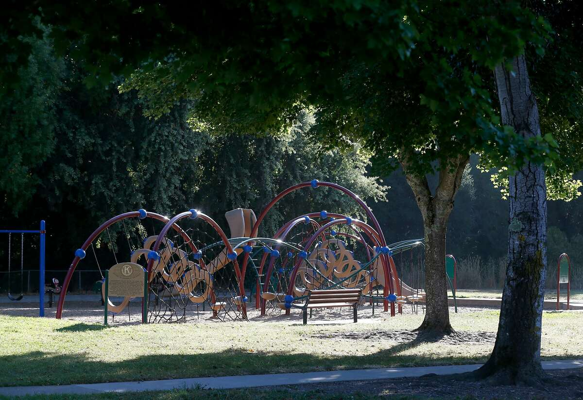 The playground at Buhman Park, the 50th constructed by 92-year-old Jim Roberts, is seen in Napa, Calif. on Friday, Aug. 30, 2019. Roberts and his team of volunteers from the local Kiwanis Club are building their 73rd playground on Sept. 7 at Playground Fantastico park.