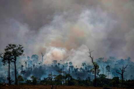 Smoke rises from forest fires in Altamira, Brazil, last week.
