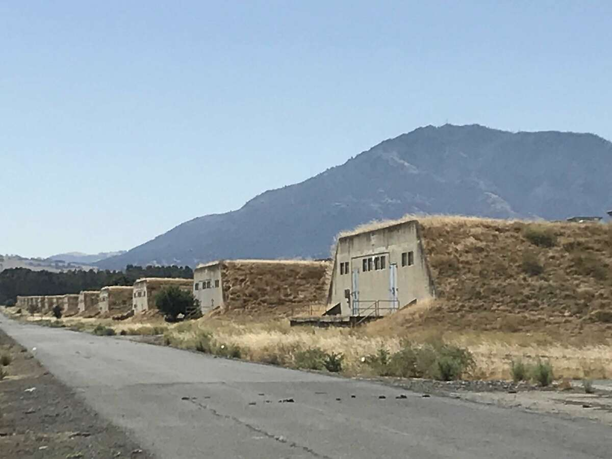 Ammunition bunkers at the former Concord Naval Weapons Station, with the slopes of Mt. Diablo in the background
