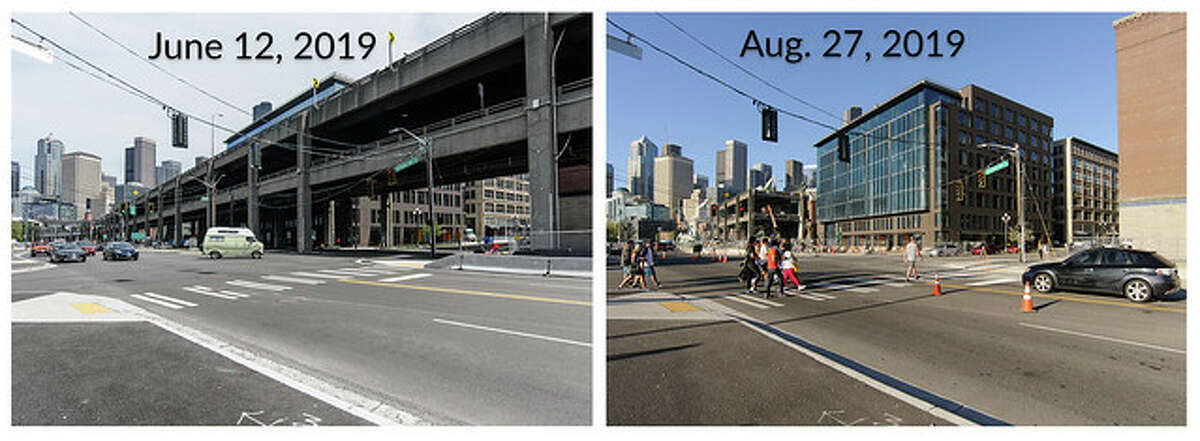 The view at the intersection of South King Street and Alaskan Way in June compared to August. In the distance up the street, demolition continues on one of the final sections of the Alaskan Way Viaduct.