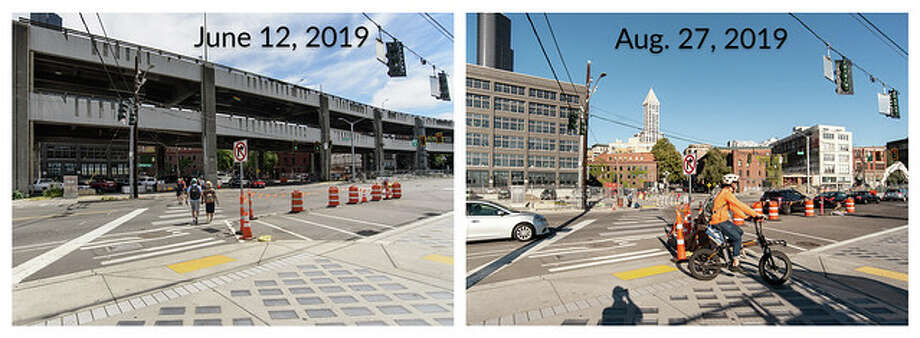 The intersection of Yesler Way and Alaskan Way, comparing June to August after the viaduct was removed. Photo: Courtesy WSDOT