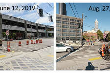 The intersection of Yesler Way and Alaskan Way, comparing June to August after the viaduct was removed.