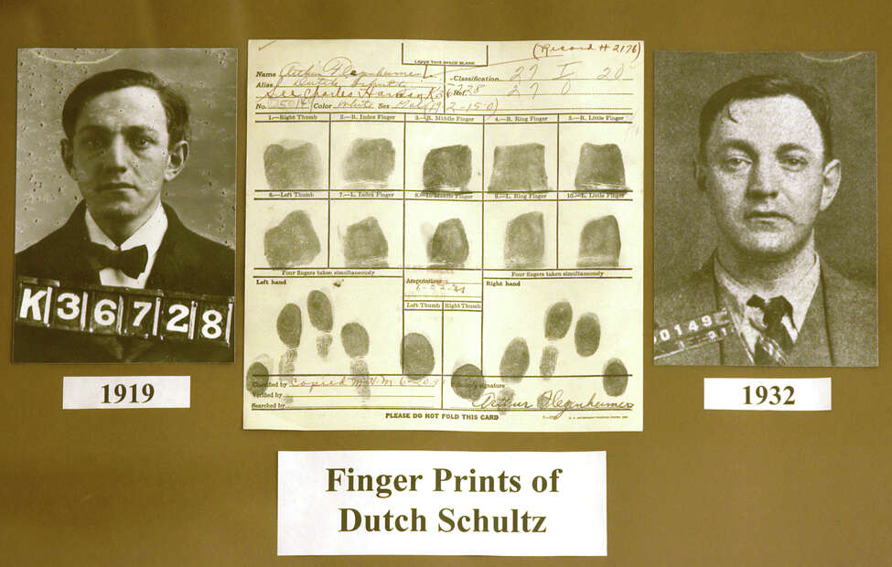 Times Union Staff Photo by Skip Dickstein - The mug shot and fingerprints of career criminal Dutch Schultz held on file at the DCJS Finger Print section in Albany New York October 6, 2003.