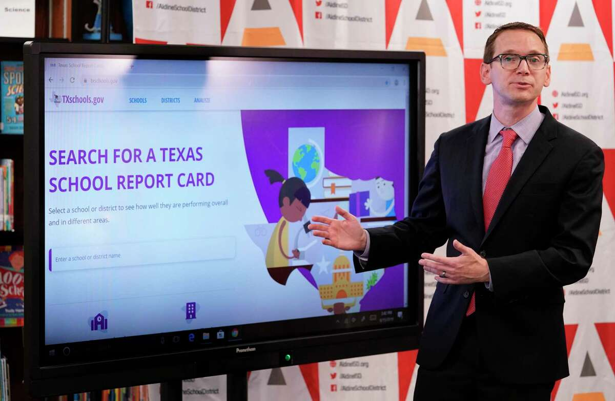 In this August file photo, Texas Education Commissioner Mike Morath speaks about the release of 2019 academic accountability ratings at Aldine ISD's Stephens Elementary School. The Texas Education Agency is investigating 12 school districts that reported far-above-average rates of graduates enlisting or planning to enlist in the military, which significantly raised the accountability ratings of four districts that performed poorly on state standardized tests.