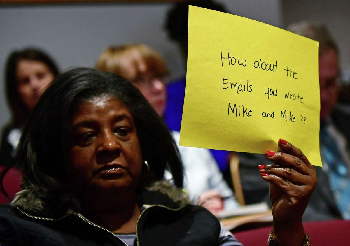 NAACP protesters including Brenda Penn-Williams attend a Board of Education meeting March 5 at City Hall in Norwalk. Members of the NAACP and other supporters of the group asked for an apology and for the resignation of ed board chairman Mike Barbis for comments he made via email urging other board members not to attend an NAACP event in the fall.