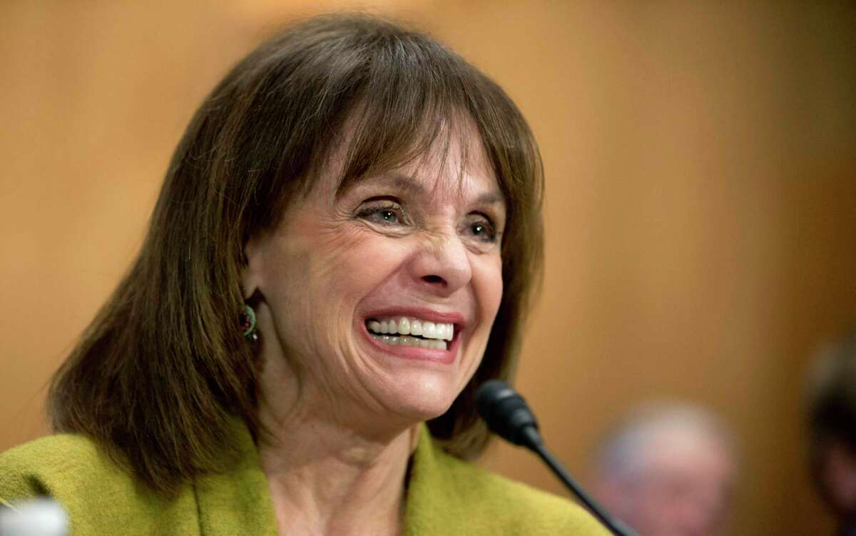 FILE - In this May 7, 2014 file photo, actress and cancer survivor Valerie Harper, testifies before a Senate Special Committee on Aging hearing to examine the fight against cancer on Capitol Hill in Washington. Valerie Harper, who scored guffaws and stole hearts as Rhoda Morgenstern on back-to-back hit sitcoms in the 1970s, has died, Friday, Aug. 30, 2019. She was 80. (AP Photo/Manuel Balce Ceneta, File)