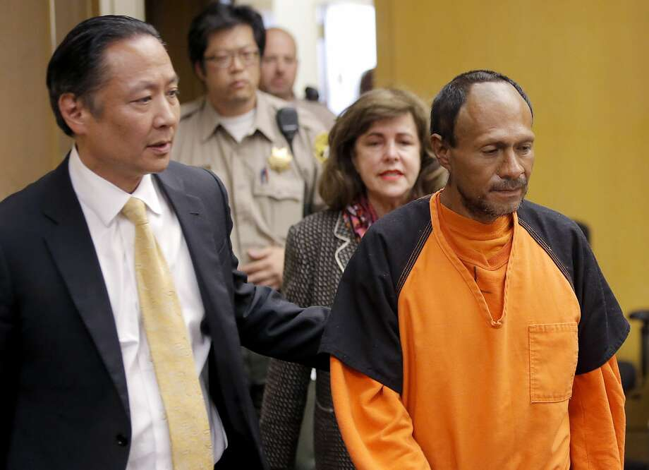 FILE - In this July 7, 2015 file photo, Juan Francisco Lopez-Sanchez, right, is lead into the courtroom by San Francisco Public Defender Jeff Adachi, left, and Assistant District Attorney Diana Garcia, center, for his arraignment at the Hall of Justice in San Francisco. Photo: AP, Pool