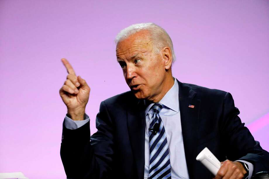 (FILES) In this file photo taken on July 24, 2019 Democratic 2020 presidential candidate Joe Biden  addresses the Presidential Forum at the NAACP's 110th National Convention at Cobo Center in Detroit, Michigan. - Leading Democratic presidential hopeful Joe Biden recently offered voters a dramatic retelling of an act of heroism by a US soldier in Afghanistan, but the details were inaccurate, The Washington Post reported. The apparent misstatements are the latest in a series of gaffes by the 76-year-old Democrat who is seeking his party's nomination to challenge President Donald Trump in 2020.Speaking last August 23, 2019 at a New Hampshire campaign event, Biden recalled how a four-star general asked him to travel to Kunar province to bestow a medal on a US Navy captain who had rappelled down a ravine under fire to retrieve the body of a fellow soldier. (Photo by JEFF KOWALSKY / AFP)JEFF KOWALSKY/AFP/Getty Images Photo: JEFF KOWALSKY, Contributor / AFP/Getty Images / AFP or licensors