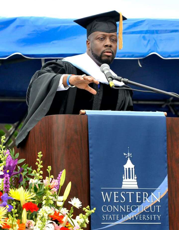 Wyclef Jean speaks at the 112th Commencement Exercises at Western Connecticut State University on Sunday, May 23, 2010 in Danbury. Photo: Michael Duffy / The News-Times