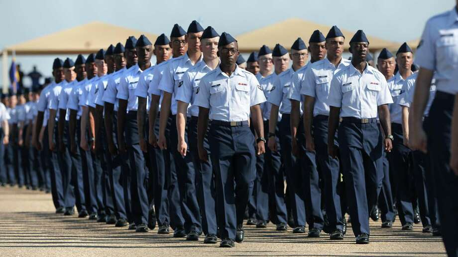 More than 800 trainees paraded during the Air Force Basic Military Training Graduation held at Joint Base San Antonio-Lackland in this 2019 file photo. Recent data show that the Air Force set a record for suicides last year. Photo: Bob Owen /Staff Photographer / ©2019 San Antonio Express-News