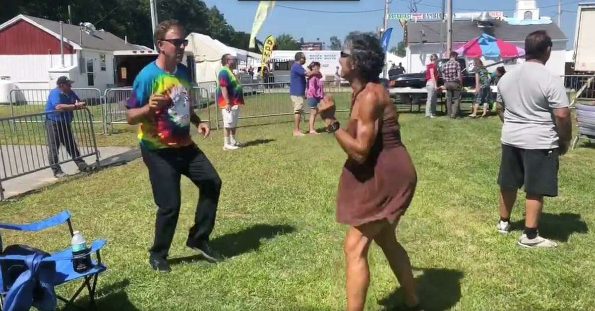 Gov. Ned Lamont dances during Friday's concert at the Woodstock Fair.