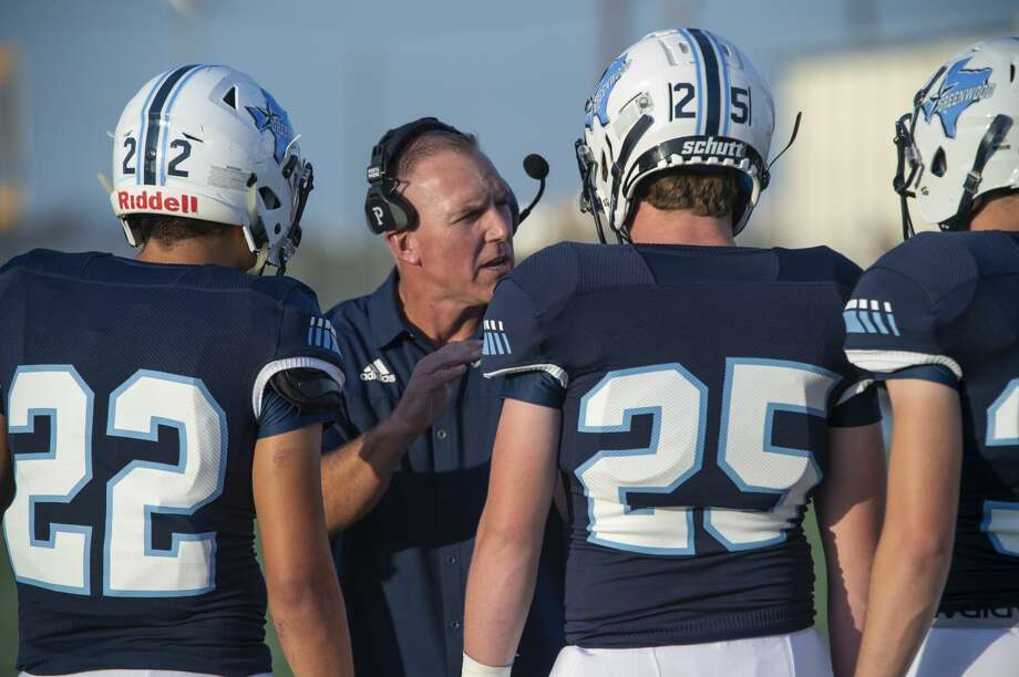 Greenwood head coach Rusty Purser talks to his players on the sideline during a game against Big Spring 08/30/19 Tim Fischer/Reporter-Telegram Photo: Tim Fischer/Midland Reporter-Telegram