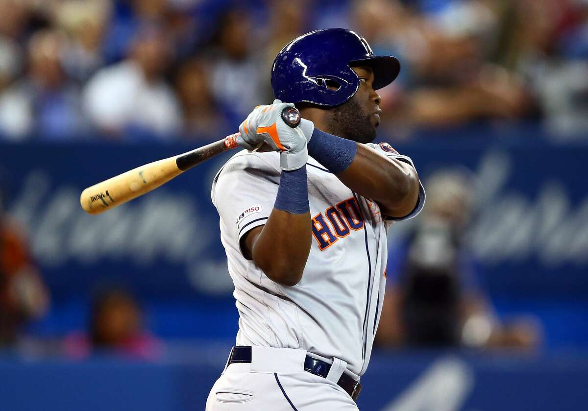 TORONTO, ON - AUGUST 30: Yordan Alvarez #44 of the Houston Astros swings at a pitch in the seventh inning during a MLB game against the Toronto Blue Jays at Rogers Centre on August 30, 2019 in Toronto, Canada. (Photo by Vaughn Ridley/Getty Images)