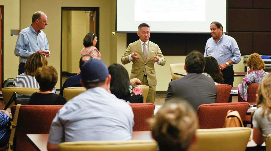"""In this Oct. 30, 2018 file photo, local attorney Doanh """"Zone"""" T. Nguyen addresses at the Fasken Community Center the residents of La Bota Ranch on legal approaches to rising fees. Photo: Danny Zaragoza /Laredo Morning Times / Laredo Morning Times"""