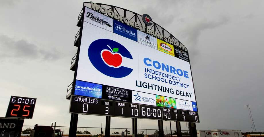 The scoreboard at Woodforest Bank Stadium warns visitors of a inclement weather in the area before a non-district high school football game between College Park and Aldine Davis, Friday, Aug. 30, 2019, in Shenandoah. Photo: Jason Fochtman/Staff Photographer