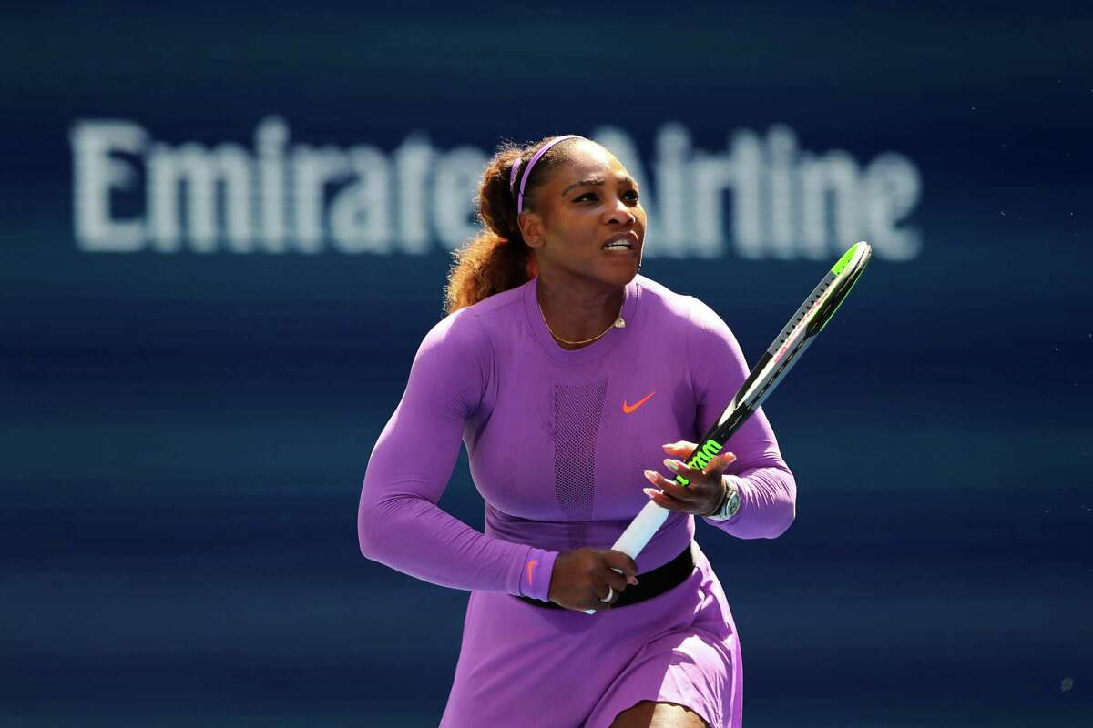 NEW YORK, NEW YORK - AUGUST 30: Serena Williams of the United States reacts during of her Women's Singles round three match against Karolina Muchova of the Czech Republic on day five of the 2019 US Open at the USTA Billie Jean King National Tennis Center on August 30, 2019 in Queens borough of New York City. (Photo by Elsa/Getty Images)