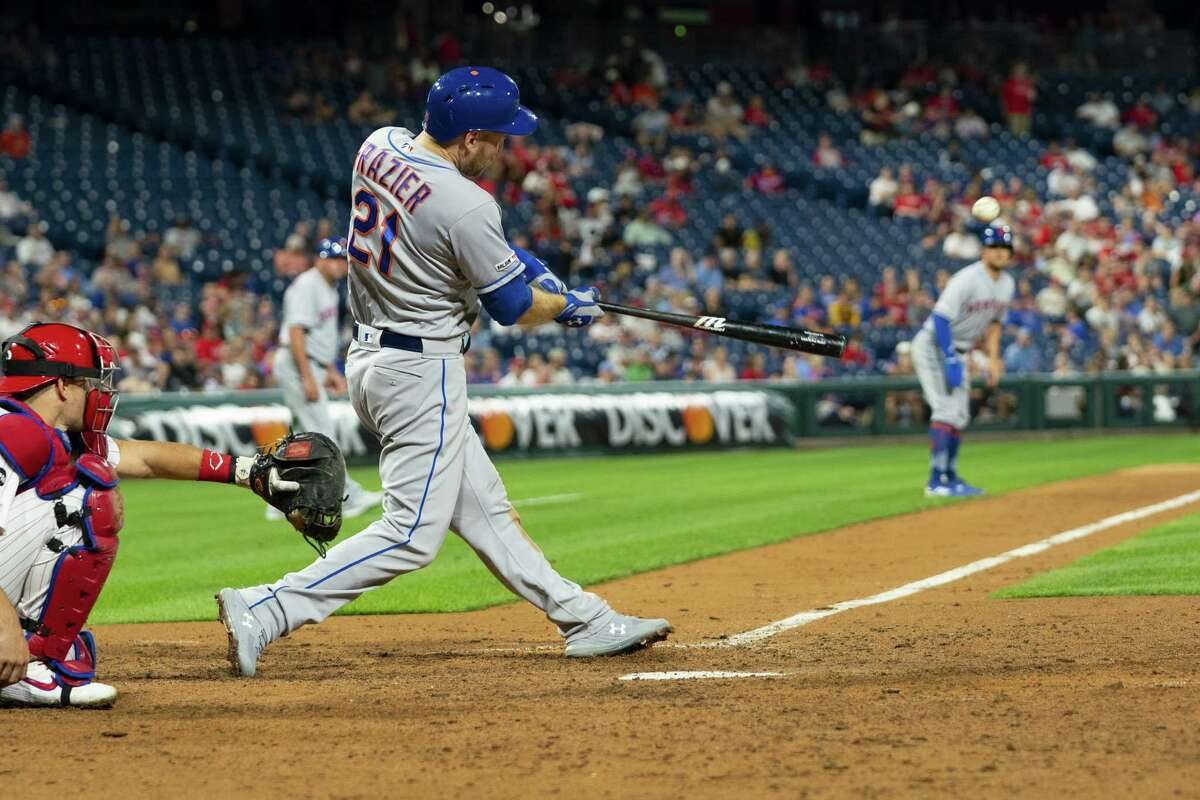 PHILADELPHIA, PA - AUGUST 30: Todd Frazier #21 of the New York Mets hits a three run home run in the top of the ninth inning against the Philadelphia Phillies at Citizens Bank Park on August 30, 2019 in Philadelphia, Pennsylvania. The Mets defeated the Phillies 11-5. (Photo by Mitchell Leff/Getty Images)
