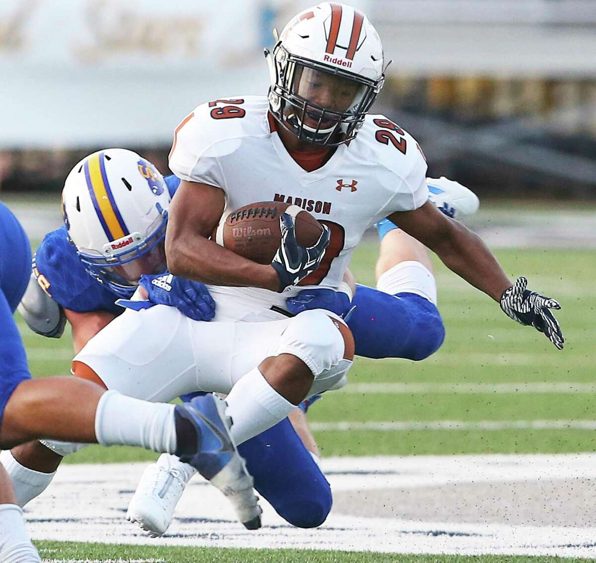 Maverick running back Gabriel Green spins to get away from a tackler as Clemens hosts Madison at Lehnhoff Stadium on August 30, 2019.