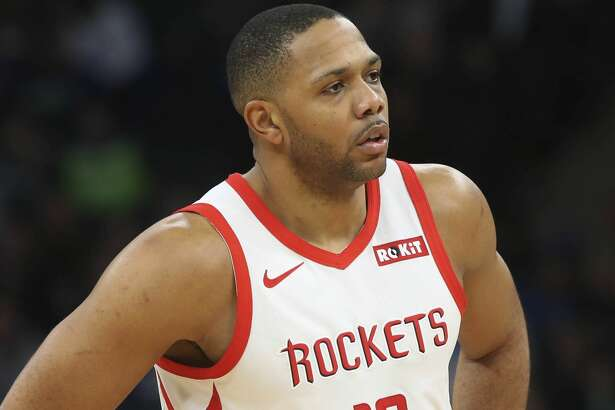 Houston Rockets' Eric Gordon plays against the Minnesota Timberwolves in an NBA basketball game Wednesday, Feb. 13, 2019, in Minneapolis. (AP Photo/Jim Mone)