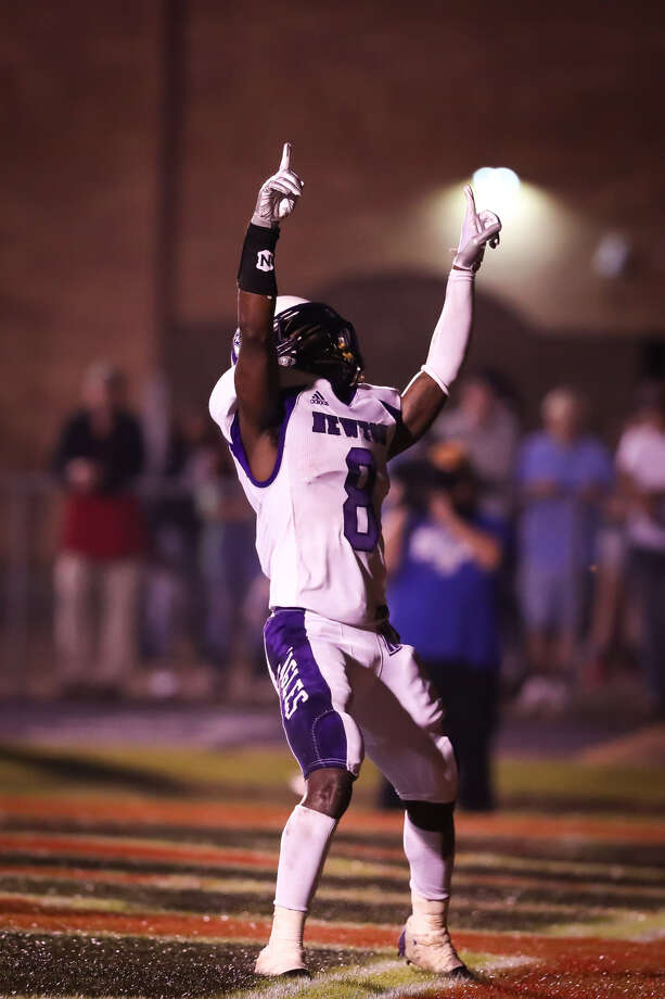 Newton's Val Fowler celebrating in the end zone. Photo: Heather Foster/ Special To The Enterprise
