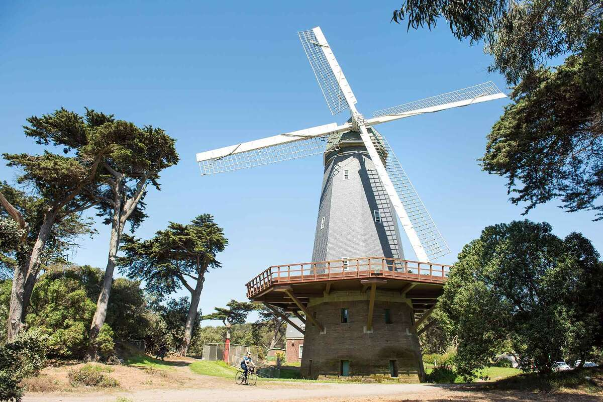 Golden Gate Park: West End 2 miles While the west end of Golden Gate Park often gets overlooked in favor of the museum-heavy east end, locals shouldn't neglect it. See the windmills, North Lake, the Queen Wilhelmina Tulip Gardens and end with a beer at Beach Chalet, where you can also find historic murals.