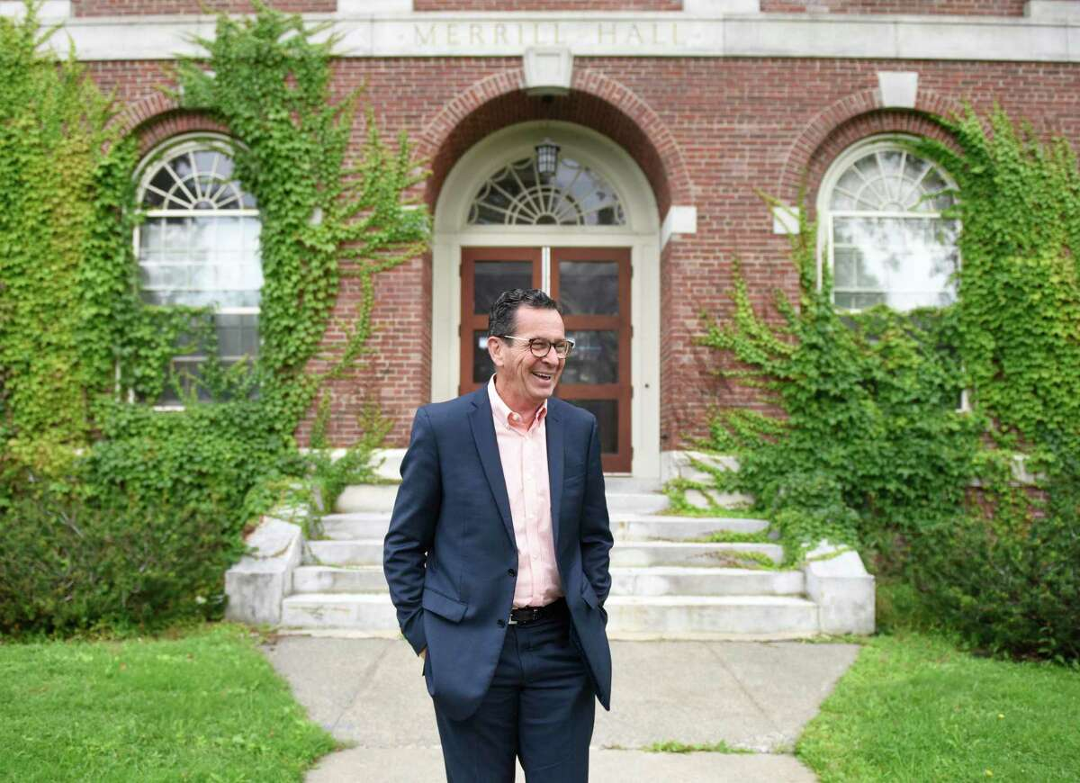 University of Maine Chancellor Dannel P. Malloy, the former Governor of Connecticut, walks the University of Maine main campus in Orono, Maine on Monday, Aug. 26, 2019. Malloy began his service as the 13th Chancellor of the University of Maine System in July and has spent his first months traveling to the many campuses and getting to know school leaders, faculty and students.