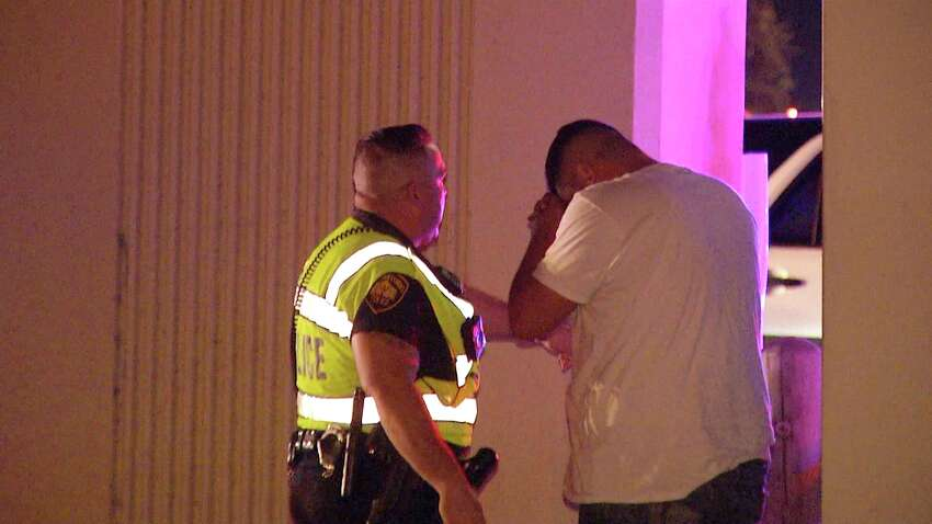 San Antonio Police say two men were hospitalized after losing control of their vehicle and driving up and off an embankment on Loop 410 on the Northwest Side Saturday, Aug. 30, 2019, about midnight.