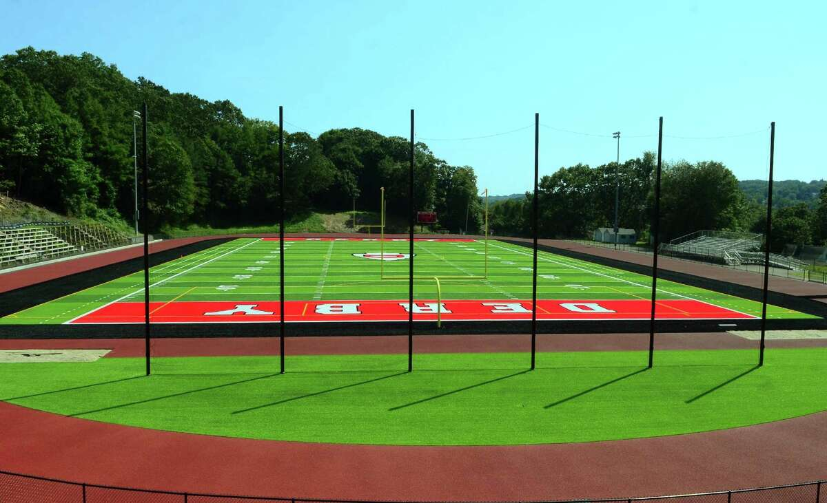 A view of the new football field at Derby High School in Derby, Conn., on Friday August 30, 2019.