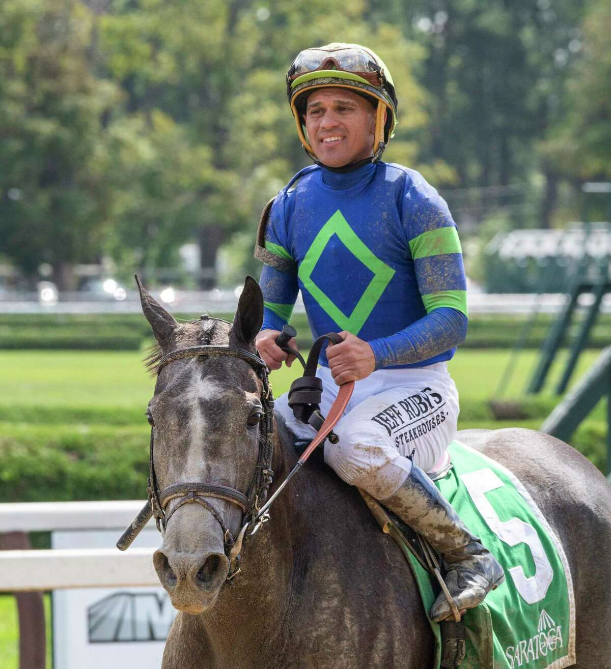 Royal Charlotte with jockey Javier Castellano return to the winner?•s circle after winning the 72nd running of The Prioress at the Saratoga Race Course Saturday August 31, 2019 in Saratoga Springs, N.Y. Photo Special to the Times Union by Skip Dickstein