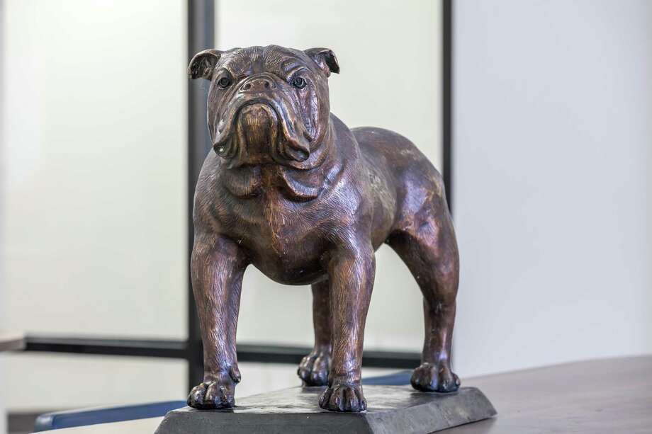 A bronzed bulldog mascot will soon greet students at Summer Creek High School.The statue was given by Kingwood High School in appreciation for help after Hurricane Harvey. Photo: Courtesy Humble ISD