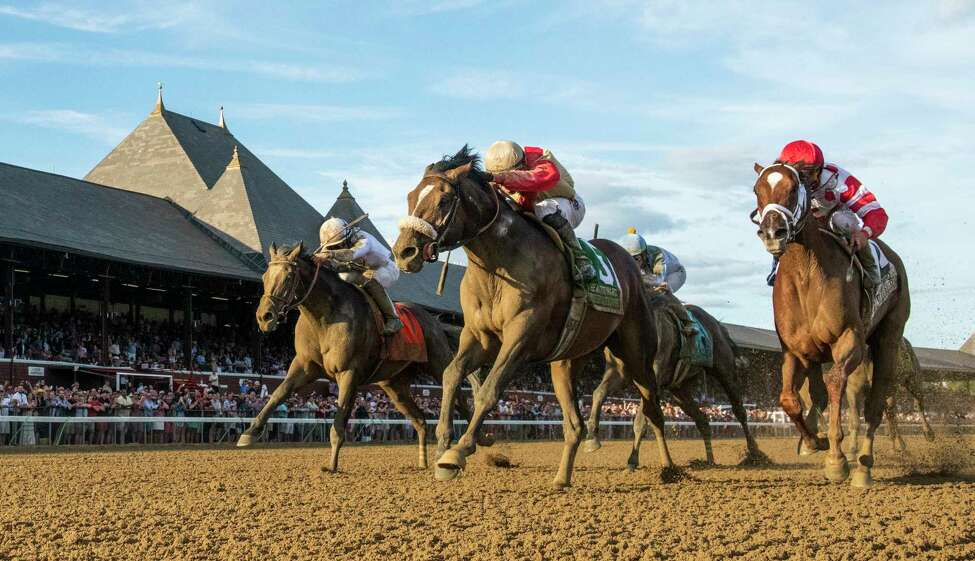 Preservationist ridden by Junior Alvarado, center holds off the competition to win the 66th running of The Woodward at the Saratoga Race Course Saturday August 31, 2019 in Saratoga Springs, N.Y. Photo Special to the Times Union by Skip Dickstein