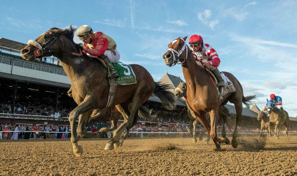 Preservationist ridden by Junior Alvarado, left holds off the competition to win the 66th running of The Woodward at the Saratoga Race Course Saturday August 31, 2019 in Saratoga Springs, N.Y. Photo Special to the Times Union by Skip Dickstein