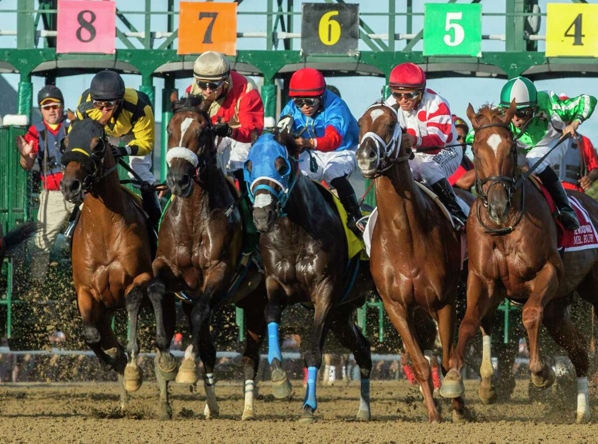 Preservationist ridden by Junior Alvarado, second from left, finds traffic tight and he holds off the competition to win the 66th running of The Woodward at the Saratoga Race Course Saturday August 31, 2019 in Saratoga Springs, N.Y. Photo Special to the Times Union by Skip Dickstein