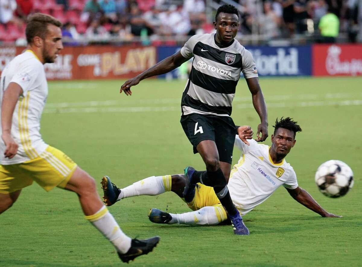 Defender Joshua Yaro (4) scored San Antonio FC's lone goal during Friday's 5-1 loss to Tacoma Defiance.