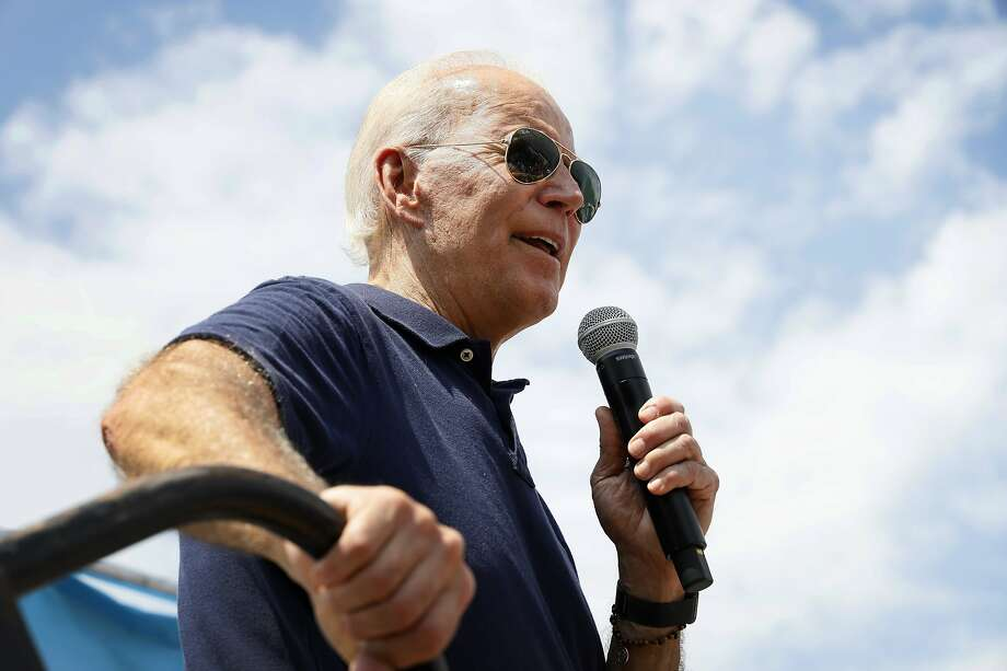 FILE - In this Aug. 8, 2019, file photo, Democratic presidential candidate former Vice President Joe Biden speaks at the Des Moines Register Soapbox during a visit to the Iowa State Fair in Des Moines, Iowa.  Photo: Charlie Neibergall, Associated Press