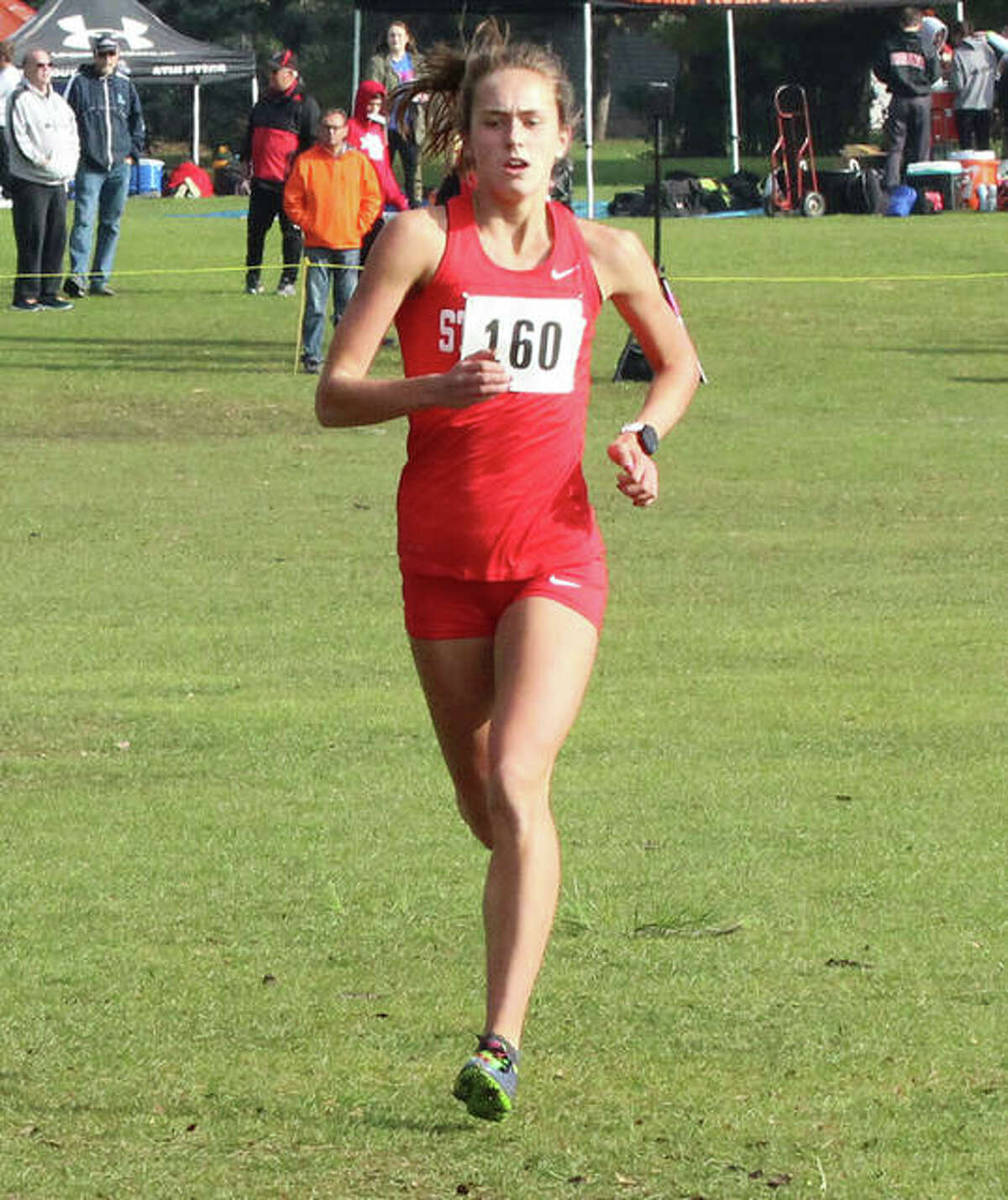 Staunton's Lydia Roller, shown running alone on the lead at last season's Class 1A sectional in Decatur, repeated as First To The Finish Invite champion Saturday morning at SIUE in Edwardsville.