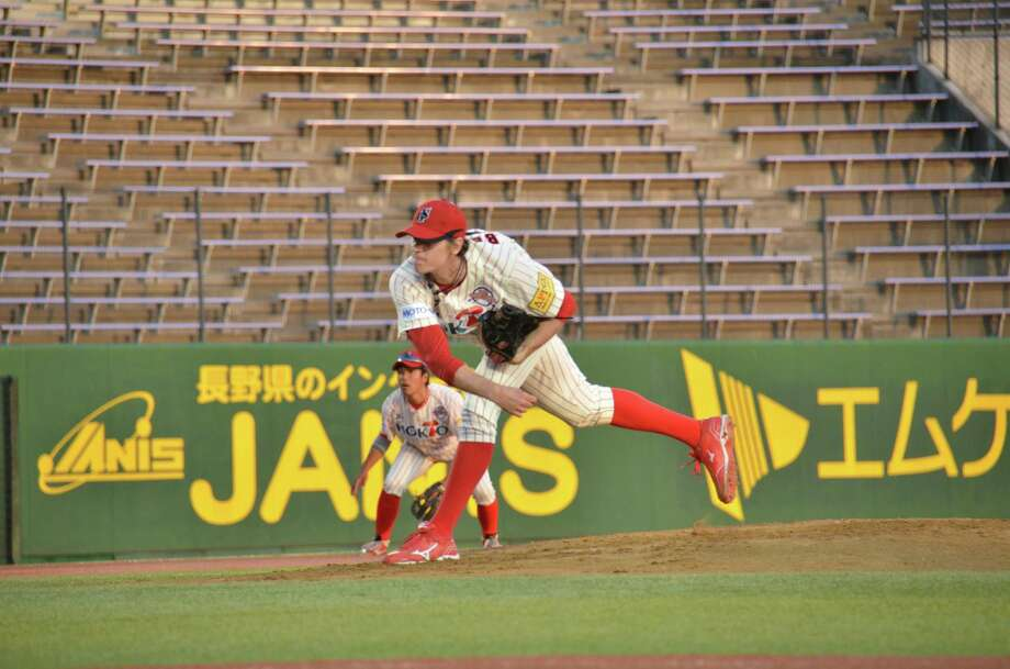 Housatonic High School graduate Brooks Belter on the mound for Japan's Shamano Grand Serows. Photo: Contributed Photo