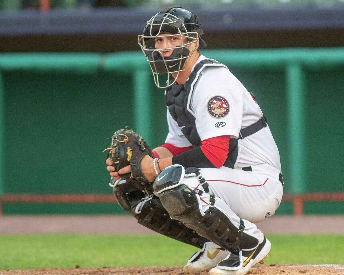 Tri-City ValleyCats catcher Korey Lee during a game against the Vermont Lake Monsters on Saturday, Aug. 31, 2019, at the Joseph L. Bruno Stadium in Troy. The New York-Penn League said Friday the season will be delayed. (Jim Franco/Special to the Times Union.)