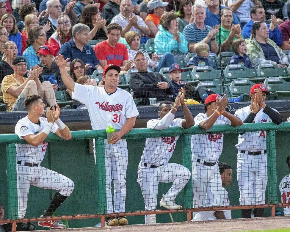 Tri-City ValleyCats outfielder Peston Pavlica cheers on his teammates during a game against the Vermont Lake Monsters on Saturday, Aug. 31, 2019 at the Joseph L. Bruno Stadium in Troy NY (Jim Franco/Special to the Times Union.)