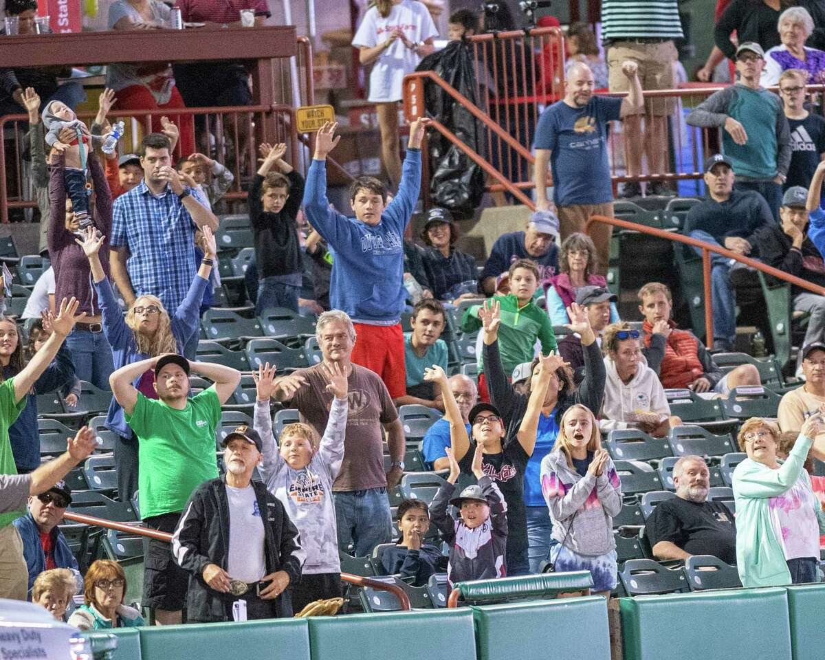 Fans cheer on the Tri-City ValleyCats during a game against the Vermont Lake Monsters on Saturday, Aug. 31, 2019 at the Joseph L. Bruno Stadium in Troy NY (Jim Franco/Special to the Times Union.)
