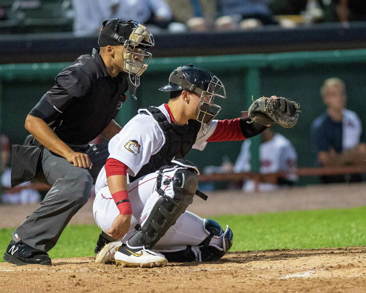 Tri-City ValleyCats catcher Korey Lee during a game against the Vermont Lake Monsters on Saturday, Aug. 31, 2019 at the Joseph L. Bruno Stadium in Troy NY (Jim Franco/Special to the Times Union.)