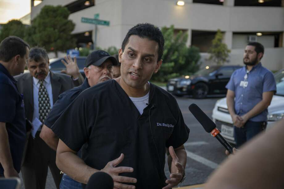 Dr. Sudip Bose talks about the systems in place at Medical Center Health System to handle mass shootings during a press conference Saturday, Aug. 31, 2019 at the corner of 5th Street and Washington by Medical Center Health System.  Jacy Lewis/Reporter-Telegram Photo: Jacy Lewis/Reporter-Telegram
